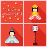 Ícones de Hinamatsuri lisos Fotografia de Stock Royalty Free