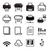 Ícones de impressora Imagem de Stock