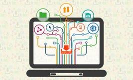 Ícones de Infographic do Internet na tela do portátil Fotografia de Stock Royalty Free