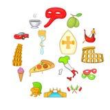 Ícones de Itália ajustados no estilo dos desenhos animados Fotos de Stock Royalty Free