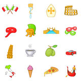 Ícones de Itália ajustados no estilo dos desenhos animados Fotografia de Stock