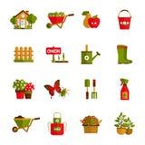 Ícones de jardinagem ajustados ilustração stock
