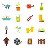 Ícones de jardinagem ajustados, styl liso ilustração stock