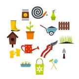 Ícones de jardinagem ajustados, styl liso ilustração do vetor