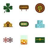Ícones de jogo ajustados, estilo liso da fortuna Imagem de Stock