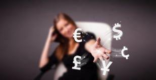 Ícones de jogo da moeda da jovem senhora Imagem de Stock