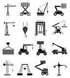 Ícones de levantamento pesados das máquinas ajustados Fotos de Stock