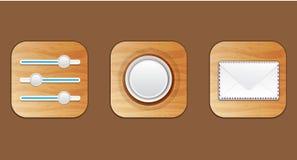 Ícones de madeira Imagens de Stock