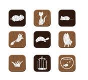 Ícones de madeira ajustados Imagens de Stock Royalty Free