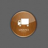Ícones de madeira da aplicação da logística ilustração do vetor