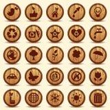 Ícones de madeira da ecologia ajustados. Símbolos verdes do ambiente Foto de Stock Royalty Free