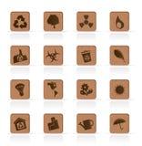 Ícones de madeira da ecologia - jogo do ícone do vetor Fotos de Stock