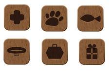 Ícones de madeira da loja de animal de estimação ajustados Imagens de Stock