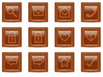 Ícones de madeira do Web do vetor ajustados Fotos de Stock