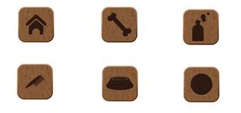 Ícones de madeira dos animais de estimação ajustados Ilustração Royalty Free