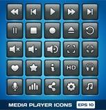 Ícones de Media Player do vetor Imagem de Stock Royalty Free
