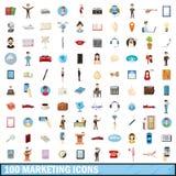 100 ícones de mercado ajustados, estilo dos desenhos animados Fotografia de Stock Royalty Free