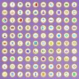 100 ícones de mercado ajustados no estilo dos desenhos animados Imagens de Stock