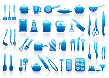 Ícones de mercadorias da cozinha Imagem de Stock Royalty Free