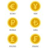 Ícones de moedas de ouro com imagens das moedas de países diferentes imagem de stock