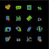 Ícones de néon da finança Fotografia de Stock