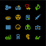 Ícones de néon da medicina Foto de Stock Royalty Free