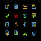 Ícones de néon do caderno Imagem de Stock Royalty Free