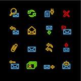 Ícones de néon do email Fotos de Stock Royalty Free