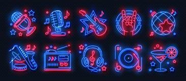 Ícones de néon do partido Sinais da luz do karaoke da música de dança, bandeira de incandescência do concerto, cartaz do disco da ilustração stock