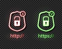 Ícones de néon do vetor: protocolos do HTTP e dos https com fechamento, símbolos brilhantes verdes e vermelhos, verificação e cru ilustração stock