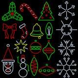 Ícones de néon do xmas do estilo Fotografia de Stock Royalty Free