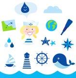 Ícones de Nautic, de marinheiro e de aventura - azul ilustração royalty free