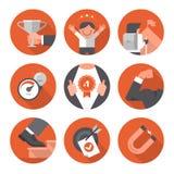 Ícones de objetivos da motivação e do ajuste Foto de Stock Royalty Free
