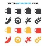 Ícones de Oktoberfest ajustados Fotografia de Stock Royalty Free