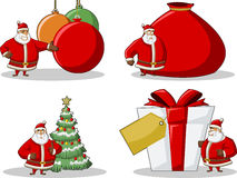 Ícones de Papai Noel no tempo do Natal Fotografia de Stock