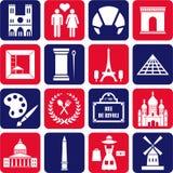 Ícones de Paris Imagens de Stock