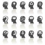 Ícones de pensamento das cabeças Fotos de Stock