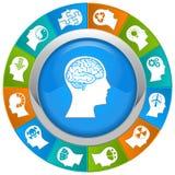 Ícones de pensamento das cabeças Fotografia de Stock Royalty Free