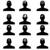 Ícones de pensamento das cabeças Imagem de Stock