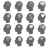 Ícones de pensamento das cabeças Vetor Imagens de Stock