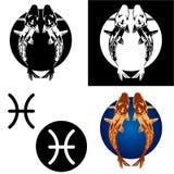 Ícones de Pisces do zodíaco Fotos de Stock Royalty Free