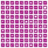 100 ícones de planejamento ajustaram o rosa do grunge Foto de Stock Royalty Free