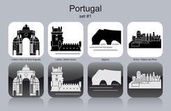 Ícones de Portugal ilustração royalty free