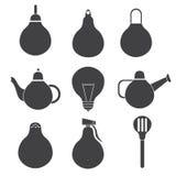 ícones de produtos do agregado familiar sob a forma da ampola Imagens de Stock
