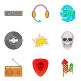Ícones de rádio ajustados, estilo da rocha dos desenhos animados Imagem de Stock Royalty Free