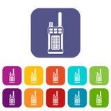 Ícones de rádio handheld portáteis ajustados ilustração do vetor