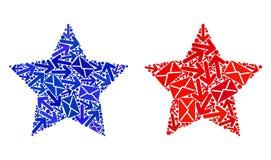 Ícones de Red Star da colagem do movimento do correio ilustração royalty free