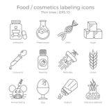 Ícones de rotulagem ajustados Fotos de Stock Royalty Free