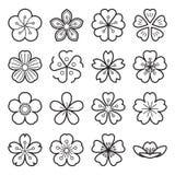 Ícones de Sakura isolados em um fundo branco Fotografia de Stock Royalty Free