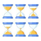 Ícones de Sandglass ajustados Projeto liso do estilo Vetor Imagens de Stock Royalty Free